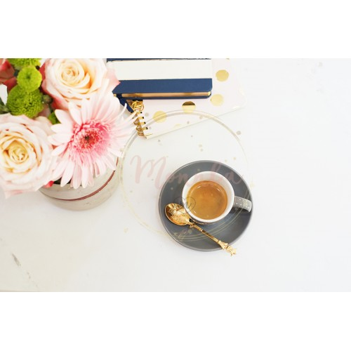 Feminine workplace concept in flat lay style with coffee, flowers, notebooks on white marble background. Top view, bright, pink and gold - DIGITAL DOWNLOAD PHOTOGRAPHY