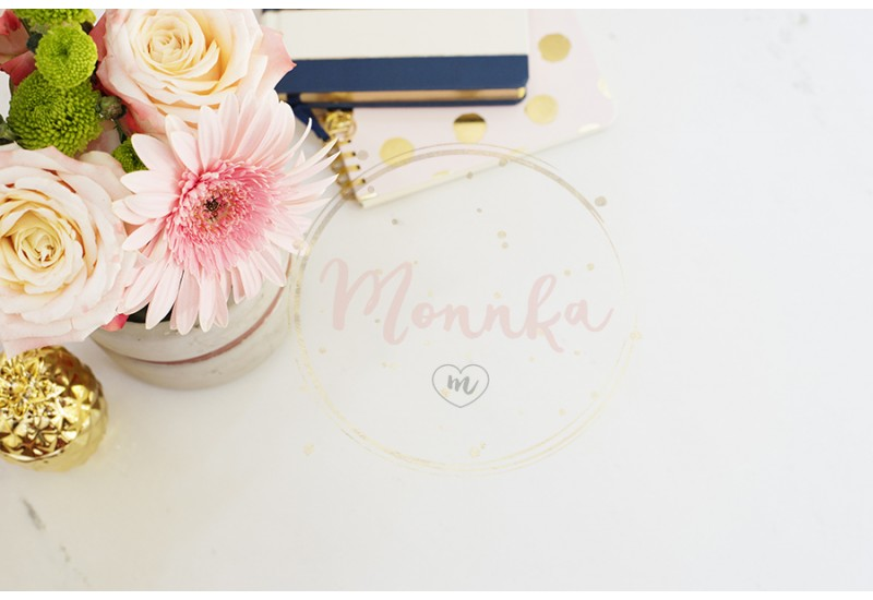 Feminine workplace concept in flat lay style with, flowers, golden pineapple, notebooks on white marble background. Top view, bright, pink and gold - DIGITAL DOWNLOAD PHOTOGRAPHY