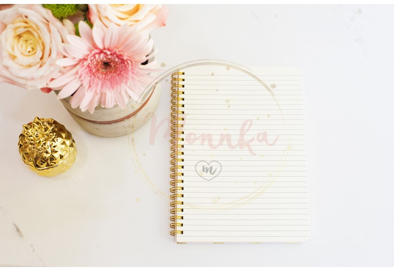 Feminine workplace concept in flat lay style with flowers, golden pineapple, notebook on white marble background. Top view, bright, pink and gold - DIGITAL DOWNLOAD PHOTOGRAPHY
