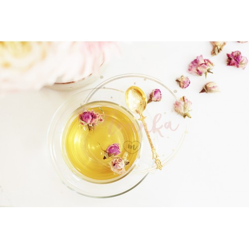 A cup of healthy herbal tea with dried roses. Beautiful fresh flowers on light marble table, top view. Pink bouquet on a female work desk. Blogger lifestyle - DIGITAL DOWNLOAD PHOTOGRAPHY