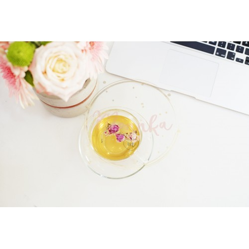 A cup of healthy herbal tea with dried roses. Beautiful fresh flowers, laptop on light marble table, top view. Pink roses and gerberas on a female work desk. Blogger lifestyle - DIGITAL DOWNLOAD PHOTOGRAPHY