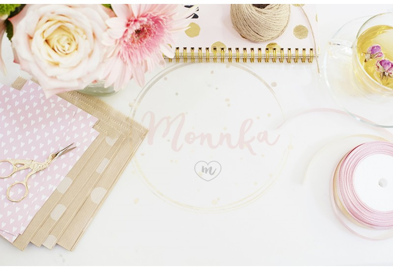 Handmade, craft concept. Handmade goods for packaging - twine, ribbons. Feminine workplace concept. Freelance fashion femininity workspace in flat lay style with flowers, rose tea, notebooks - DIGITAL DOWNLOAD PHOTOGRAPHY