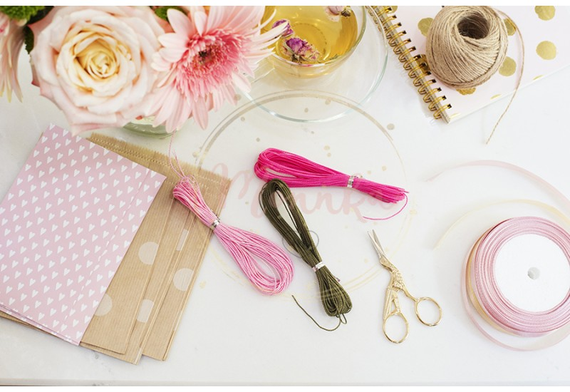 Materials for making string bracelets and handmade goods packaging - twine, ribbons. Feminine workplace concept. Freelance fashion femininity workspace in flat lay style with flowers, rose tea, notebooks - DIGITAL DOWNLOAD PHOTOGRAPHY