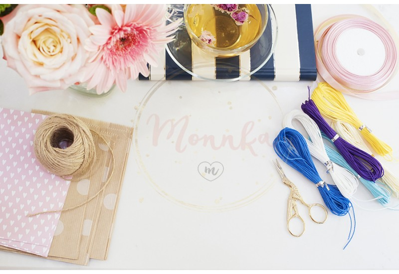 Handmade, craft concept. Materials for making string bracelets and handmade goods packaging - twine, ribbons. Feminine workplace concept. Freelance fashion femininity workspace in flat lay style with flowers, notebooks - DIGITAL DOWNLOAD PHOTOGRAPHY