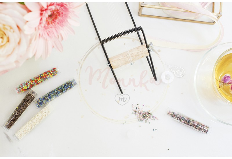 Handmade, craft concept. Materials for handmade jewelry making. Seed beads and camp for loom bracelets. Feminine workplace concept. Workspace in flat lay style with flowers, rose tea - DIGITAL DOWNLOAD PHOTOGRAPHY