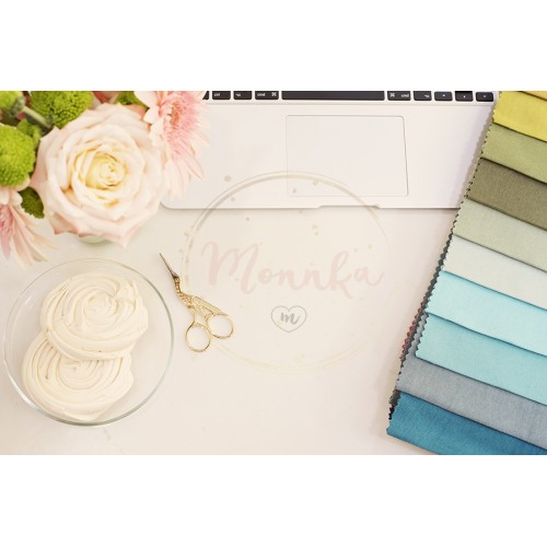 Fabric samples on the table. The designer workplace concept. Freelance fashion comfortable femininity workspace in flat lay style with flowers on white marble background. Top view, bright, pink and gold - DIGITAL DOWNLOAD PHOTOGRAPHY