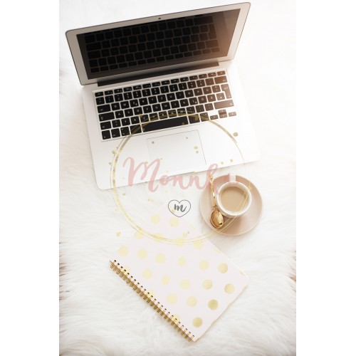 Laptop, coffee and notebook on the floor on a white fur carpet. Freelance fashion comfortable femininity home workspace in flat lay style. Top view, pink and gold. Vertical image, copy space - DIGITAL DOWNLOAD PHOTOGRAPHY