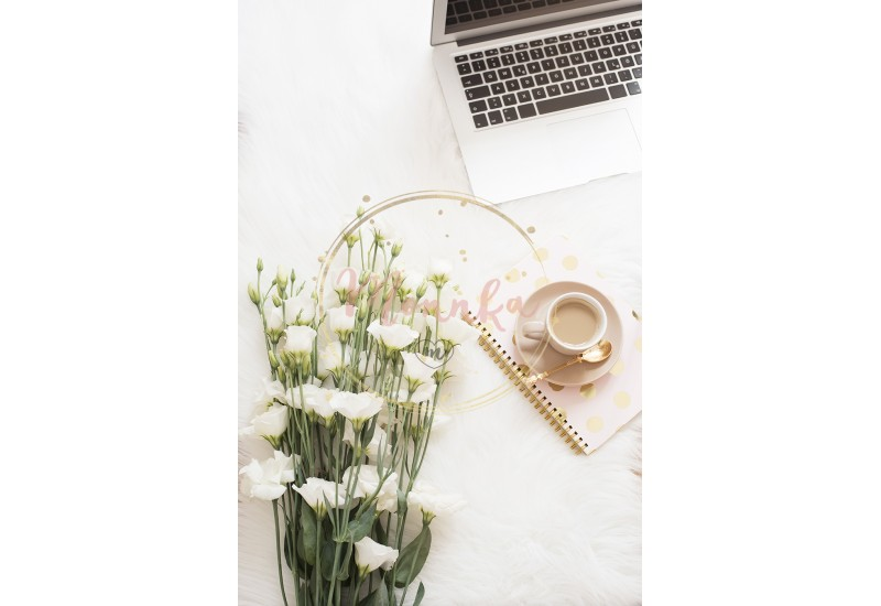 Laptop, coffee, notebook and a large bouquet white flowers on the floor on a white fur carpet. Freelance fashion comfortable femininity home workspace in flat lay style. Top view, pink and gold - DIGITAL DOWNLOAD PHOTOGRAPHY
