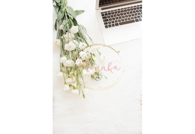 Laptop and a large bouquet white flowers on the floor on a white fur carpet. Freelance fashion comfortable femininity home workspace in flat lay style. Top view, pink and gold. Vertical image - DIGITAL DOWNLOAD PHOTOGRAPHY