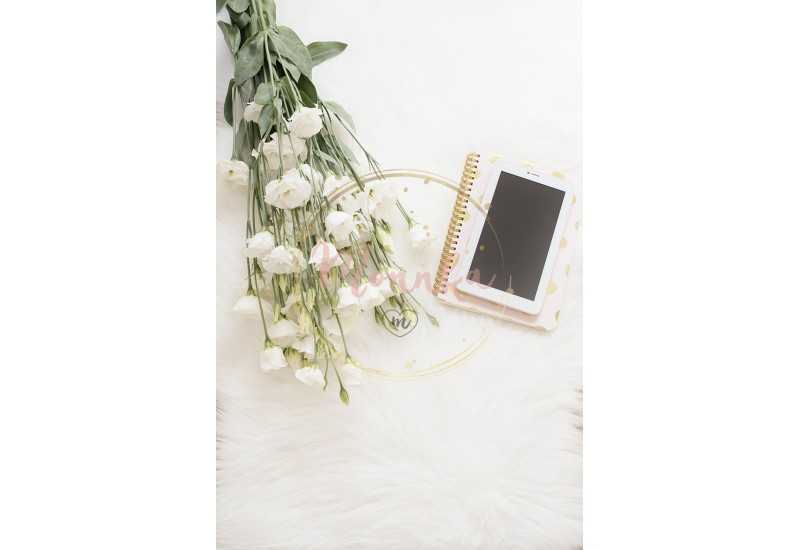 Notebook, tablet and a large bouquet white flowers on the floor on a white fur carpet. Freelance fashion comfortable femininity home workspace in flat lay style. Top view, pink and gold. Vertical image - DIGITAL DOWNLOAD PHOTOGRAPHY