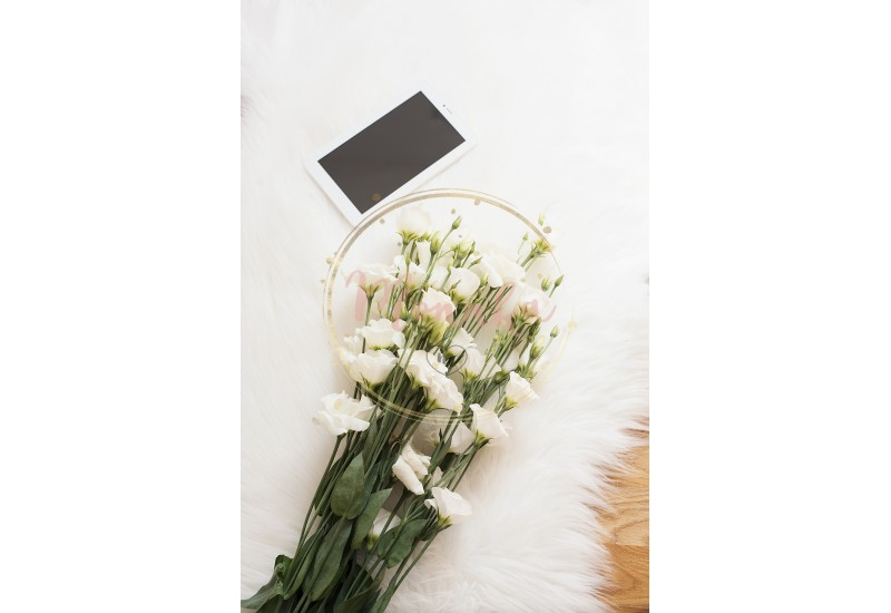 A large bouquet white flowers and tablet on the floor on a white fur carpet. Cozy, fashion comfortable femininity home workplace. Flat lay style. Top view, vertical image - DIGITAL DOWNLOAD PHOTOGRAPHY