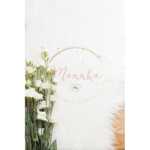 A large bouquet white flowers on wood floor on a white fur carpet. Cozy, fashion comfortable femininity home. Flat lay style. Top view, vertical image - DIGITAL DOWNLOAD PHOTOGRAPHY
