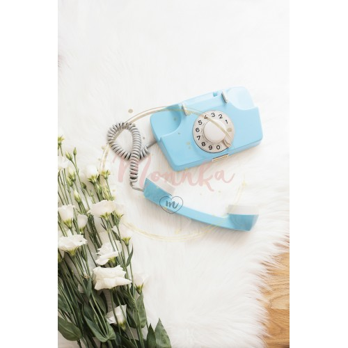A large bouquet white flowers and blue retro phone on wood floor on a white fur carpet. Cozy, fashion comfortable femininity home. Flat lay style. Top view, vertical image - DIGITAL DOWNLOAD PHOTOGRAPHY