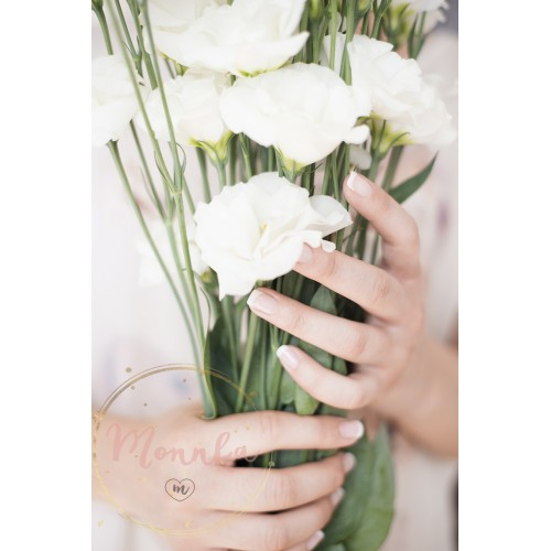 A young girl hand holding a large bouquet of fresh white flowers. Bright feminine lifestyle - DIGITAL DOWNLOAD PHOTOGRAPHY