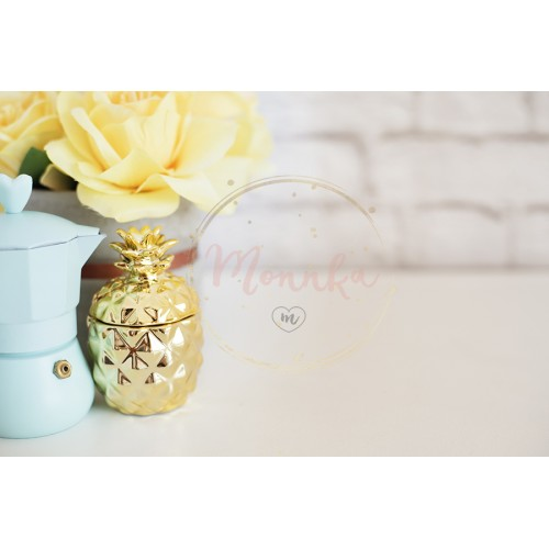 Brick Wall Product Display. Yellow Roses Mock Up. Styled Stock Photography. Blue coffee maker, golden pineapple on white desk. Fashion femininity workspace, Styled Stock Photo - DIGITAL DOWNLOAD PHOTOGRAPHY