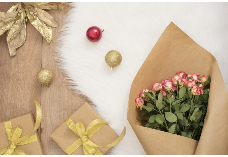 Large luxury bouquet of roses, Christmas balls and gifts on a fur carpet - DIGITAL DOWNLOAD PHOTOGRAPHY