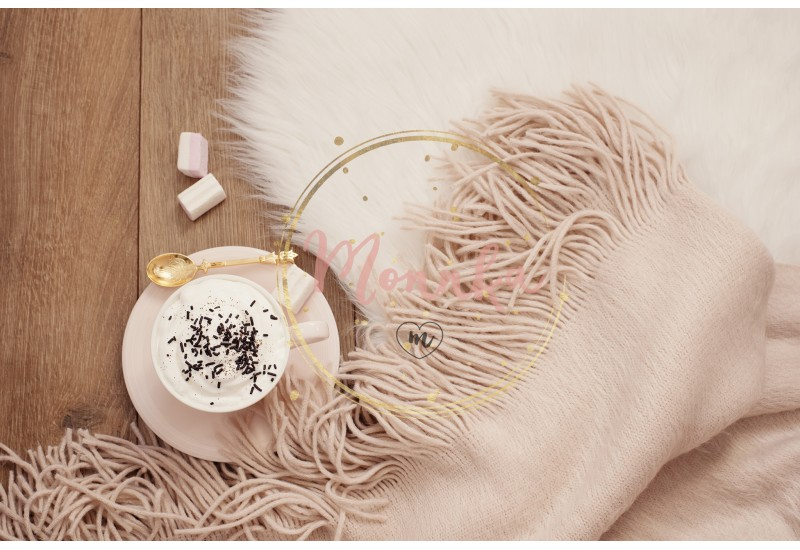 Cozy Winter Mornings. Cappuccino and a warm scarf on a white fur carpet on the floor- DIGITAL DOWNLOAD PHOTOGRAPHY