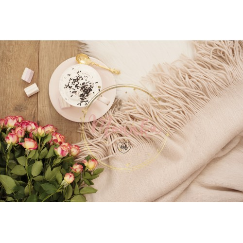 Cozy Winter Mornings. Cappuccino, bouquet of roses and a warm scarf on a white fur carpet on the floor - DIGITAL DOWNLOAD PHOTOGRAPHY