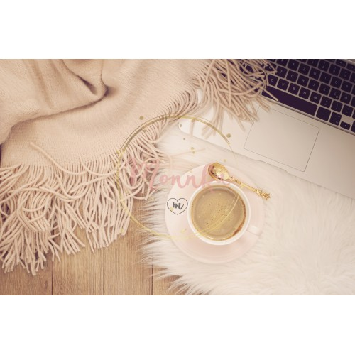 Cozy Winter Mornings. Coffee, laptop and a warm scarf on a white fur carpet on the floor - DIGITAL DOWNLOAD PHOTOGRAPHY