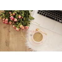 Cozy Winter Blogger Mornings - Beauty & Fashion Feminine workplace concept. Freelance workspace with laptop, flowers roses. Blogger working - DIGITAL DOWNLOAD PHOTOGRAPHY