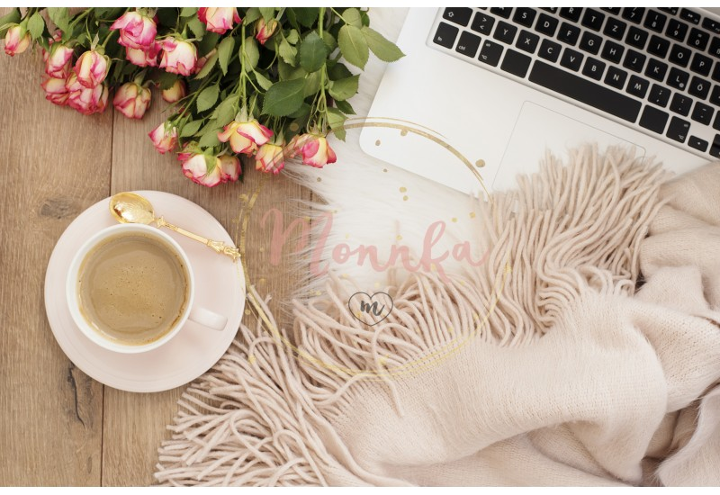 Feminine workplace concept. Freelance workspace with laptop, flowers roses. Blogger working - DIGITAL DOWNLOAD PHOTOGRAPHY