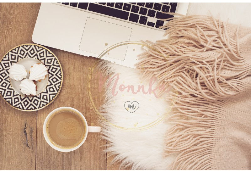 Feminine workplace concept. Freelance workspace with laptop,sweets. Blogger working - DIGITAL DOWNLOAD PHOTOGRAPHY