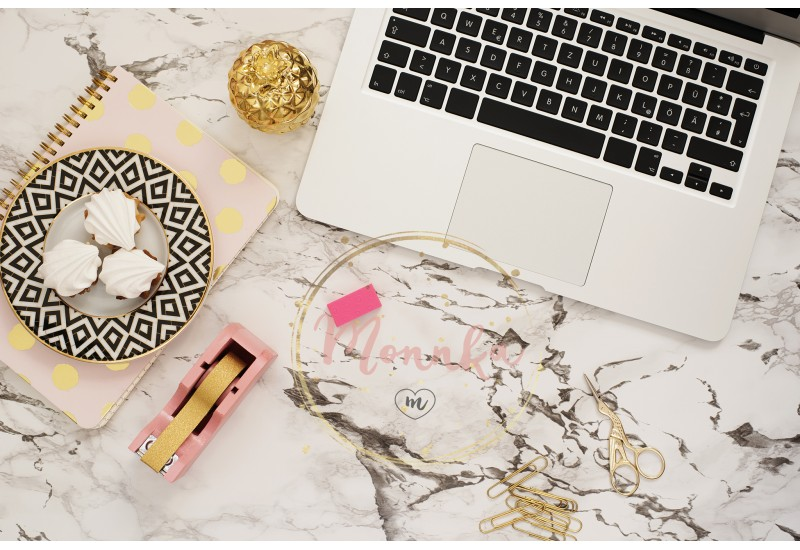 Feminine workplace concept. Freelance workspace in flat lay style with laptop, sweets, golden pineapple, notebook and paper clips on white marble background. Top view, bright, pink and gold - DIGITAL DOWNLOAD PHOTOGRAPHY