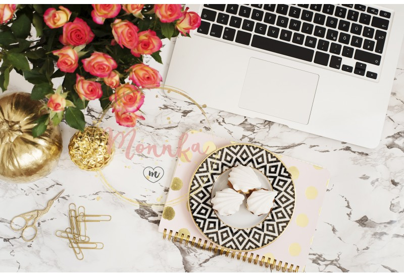 Feminine workplace concept. Freelance workspace in flat lay style with laptop, flowers, golden pineapple, notebook and paper clips on white marble background. Top view, bright, pink and gold - DIGITAL DOWNLOAD PHOTOGRAPHY