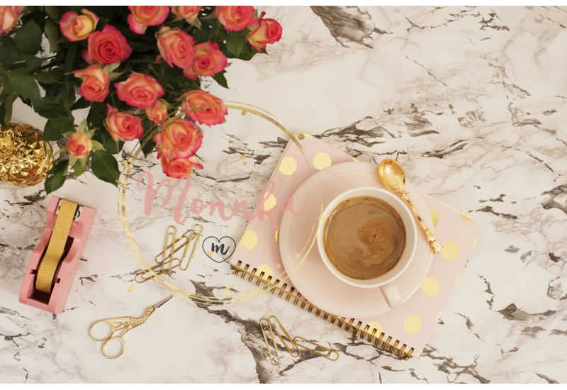 Feminine workplace concept - Beauty & Fashion Feminine workplace concept. Freelance workspace in flat lay style with coffee, flowers, golden pineapple, notebook and paper clips on white marble background - DIGITAL DOWNLOAD PHOTOGRAPHY