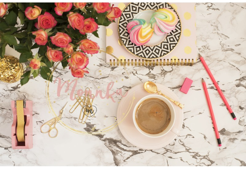 Feminine workplace concept. Freelance workspace in flat lay style with coffee, flowers, golden pineapple, notebook and paper clips on white marble background - DIGITAL DOWNLOAD PHOTOGRAPHY