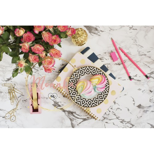 Feminine workplace concept. Freelance workspace in flat lay style with sweets, flowers, notebooks on white marble background. Top view, bright, pink, stripe and gold - DIGITAL DOWNLOAD PHOTOGRAPHY