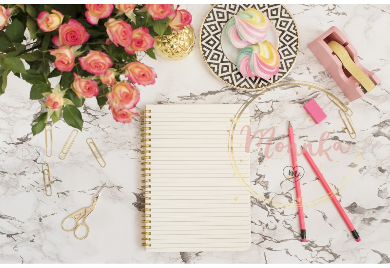 Feminine workplace concept. Freelance fashion comfortable femininity workspace in flat lay style with flowers, golden pineapple, notebook on white marble background - DIGITAL DOWNLOAD PHOTOGRAPHY