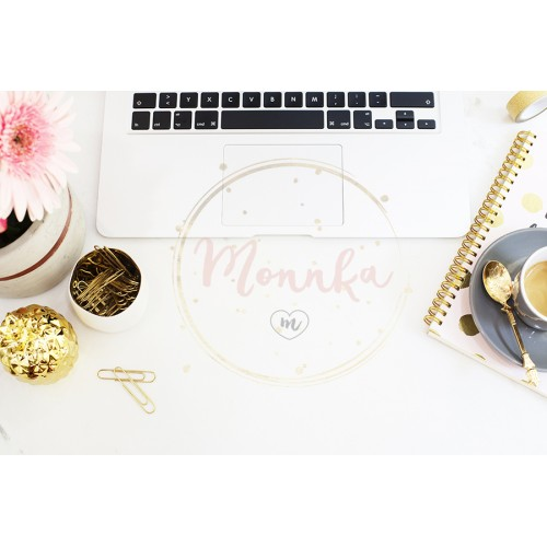 Feminine workplace concept in flat lay style with laptop, coffee, flowers, golden pineapple, notebook and paper clips on white marble background. Top view, bright, pink and gold - DIGITAL DOWNLOAD PHOTOGRAPHY
