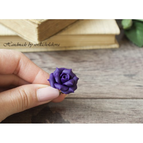 Handmade Polymer Clay Purple Rose Ring