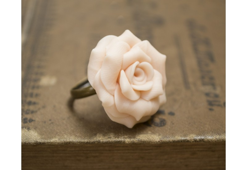 Handmade Polymer Clay Rose Ring