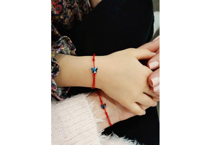 Crystal Butterfly Bracelet. Red String Bracelet. Kabbalah Amulet