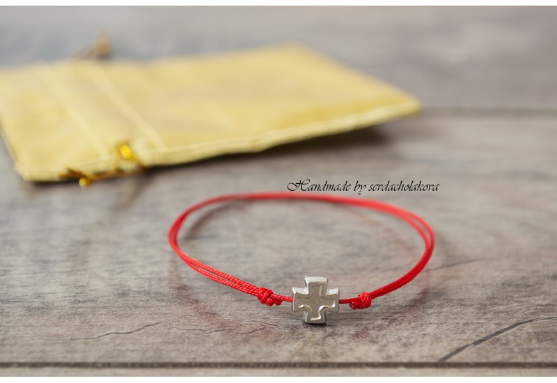 Red String Silver Cross Bracelet. Protection Bracelet