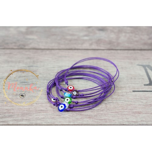 Evil Eye Bracelet. Purple String Bracelet. Thin Minimalist Dainty Surfer Bracelet
