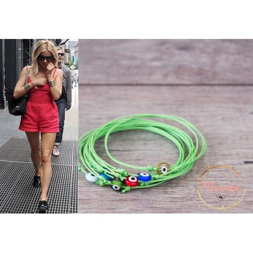 Evil Eye Bracelet. Green String Bracelet. Thin Minimalist Dainty Surfer Bracelet