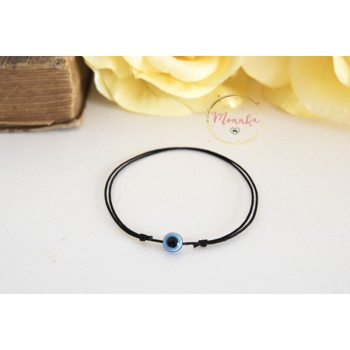 Evil Eye Bracelet. Black String Bracelet. Kabbalah Karma Chakra Bracelets