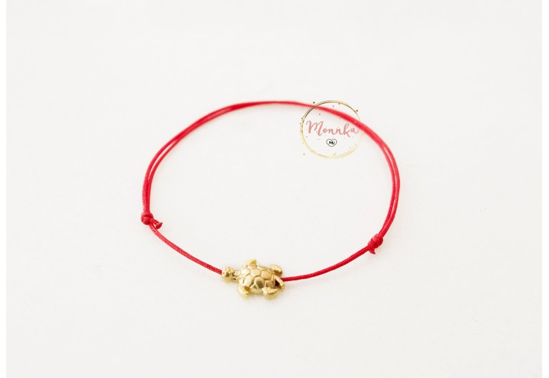 Red String Bracelet. Gold Plated Turtle Amulet. Kabbalah Red String Of Fate