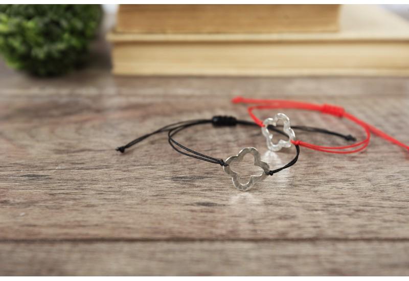 Clover Bracelet. Red String Bracelet. Sterling Silver Four Leaf Clover