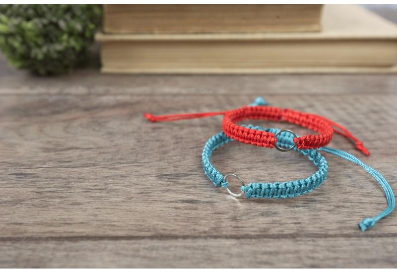Eternity Bracelet. Red String Bracelet. Karma Sterling Silver Circle Charm.