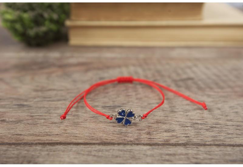 Clover Bracelet. Red String Bracelet. Four Leaf Clover