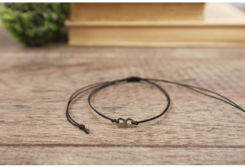 Infinity Bracelet. Black String Bracelet. Kabbalah Red String