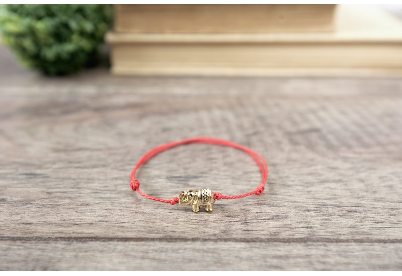 Red String Bracelet. Gold Plated Elephant Bead. Kabbalah Red String Of Fate