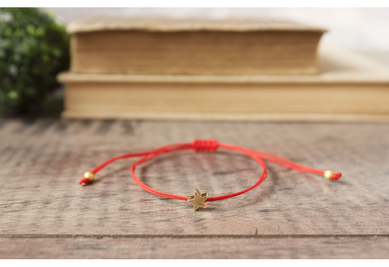 Red String Bracelet. Gold Plated Star. Kabbalah Red String Of Fate