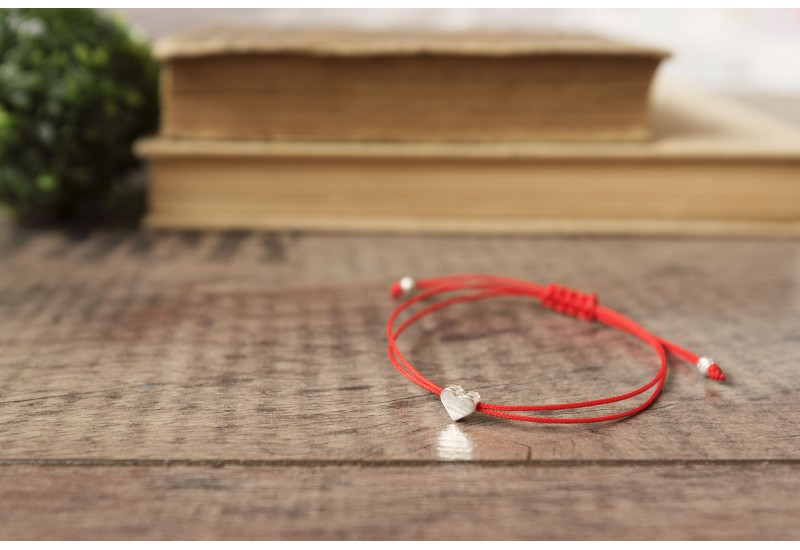 Red String Bracelet. Silver Plated Heart Bead. Kabbalah Red String Of Fate