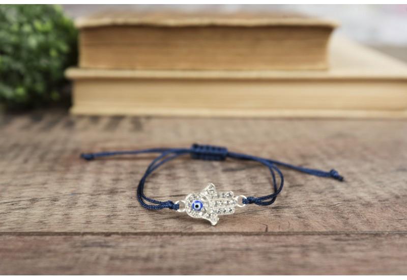 Hamsa Hand Bracelet. Blue Evil Eye. Blue String Evil Eye Bracelet