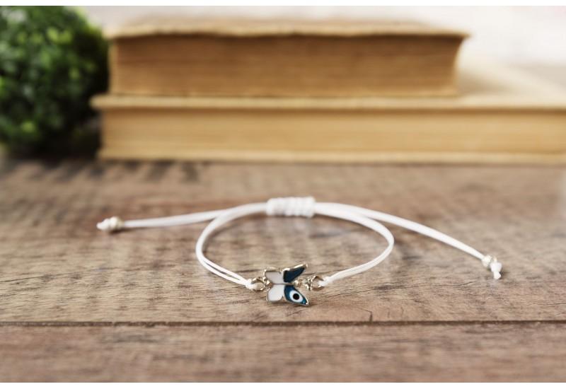 Evil Eye Bracelet. Blue Butterfly Evil Eye White String Kabbalah Chakra Bracelet